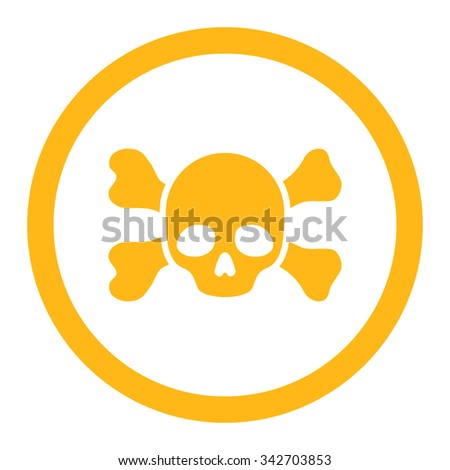 Skull And Bones vector icon. Style is flat rounded symbol, yellow color, rounded angles, white background. - stock vector