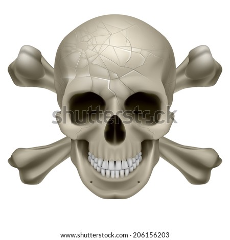 Skull and Crosbones -illustration of a scratch  human skull with crossed bones behind it isolated on white background - stock vector