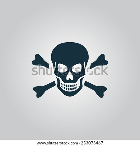 Skull and crossbones. Flat web icon, sign or button isolated on grey background. Collection modern trend concept design style vector illustration symbol - stock vector