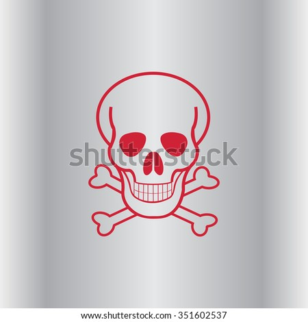 Skull and crossbones icon, vector illustration. Flat design style - stock vector