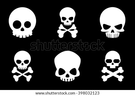 Skull and crossbones icons in cartoon style. Bone, skeleton death for halloween or pirate. Vector illustration - stock vector
