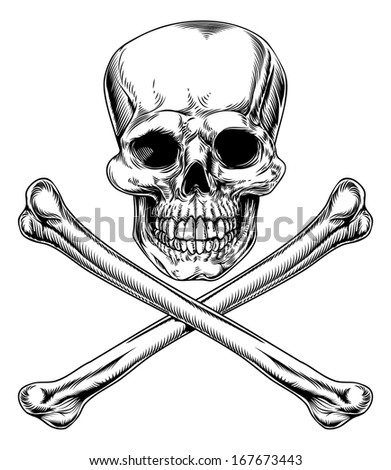 Skull and Crossbones Jolly Roger vintage pirate style sign or poison sign - stock vector