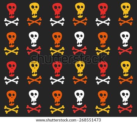 skull and crossbones pattern - stock vector