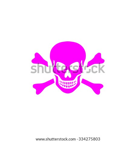 Skull and crossbones. Pink flat icon. Simple vector illustration pictogram on white background - stock vector