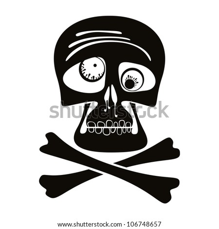 Skull and crossbones, vector illustration. - stock vector