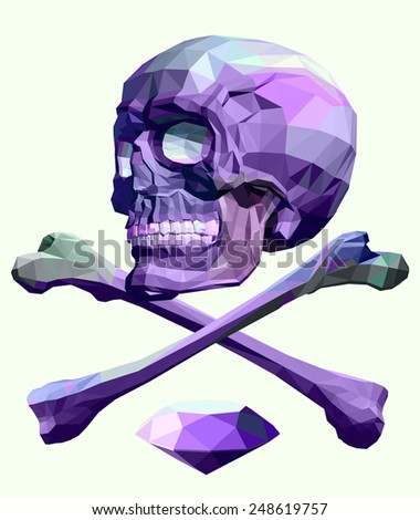 Skull and crossbones with diamond vector. triangle polygonal style illustration - stock vector