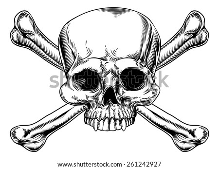 Skull and crossed bones drawing in a vintage woodcut style - stock vector