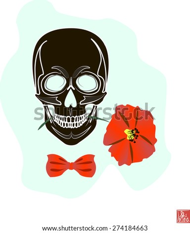 Skull and Flower, Day of The Dead, Vintage Vector illustration - stock vector