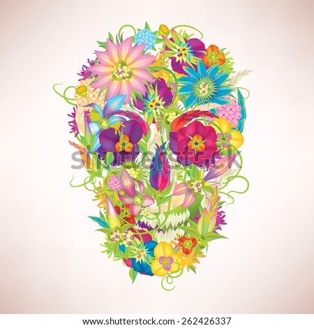 Skull and flowers vector illustration eps10 - stock vector