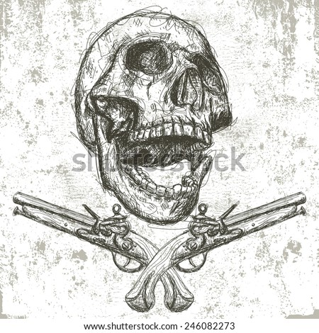 Skull and pistols Sketchy, hand drawn human skull with pistols underneath over an abstract background . The artwork is on a separate labeled layer from the distressed background. - stock vector