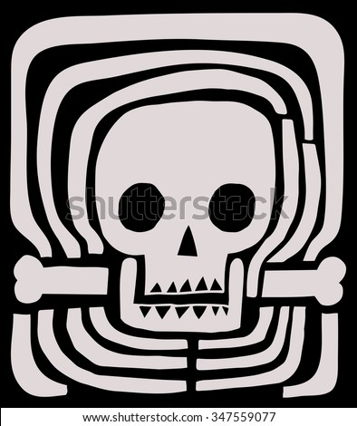 Skull and ribs - stock vector