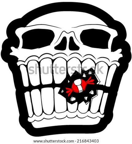 Skull black and white with red candy vector, vertical,  isolated  - stock vector