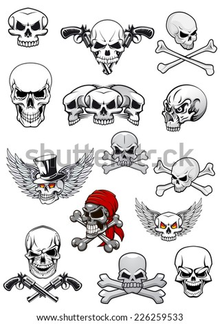 Skull characters for halloween, pirates and piracy decorated with crossed bones, crossed pistols, wings and bandanna in black and white - stock vector