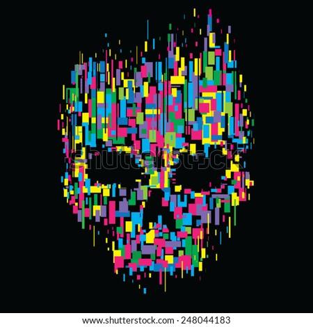 Skull color illustration, t-shirt graphics, vectors - stock vector