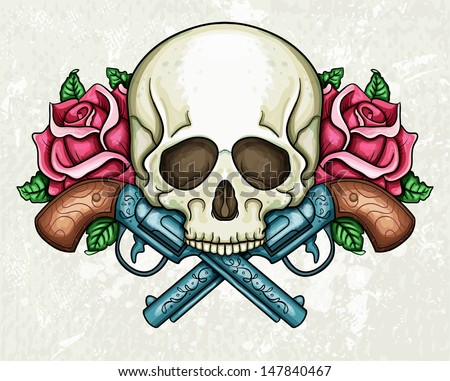 Skull, crossed guns and roses - stock vector