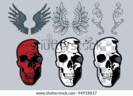 Skull Design set - stock vector