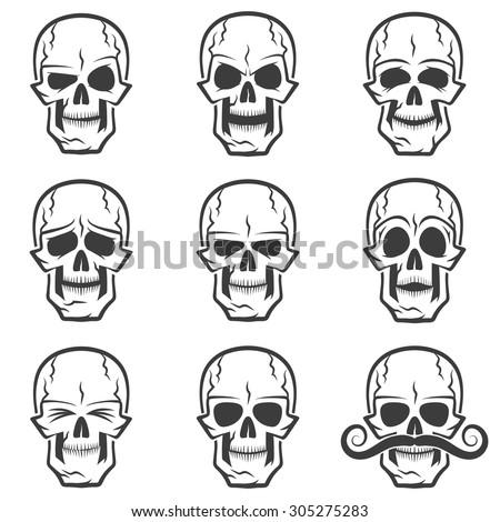 Skull emotions set. Wary skull, evil skull, funny skull, skull surprised,skull with eyes closed,  serious skull, sad skull, skull with mustache. - stock vector