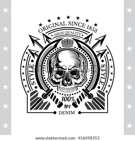 Skull front view without a lower jaw between round swords and cross arrows behind. Vintage label isolated on white - stock vector
