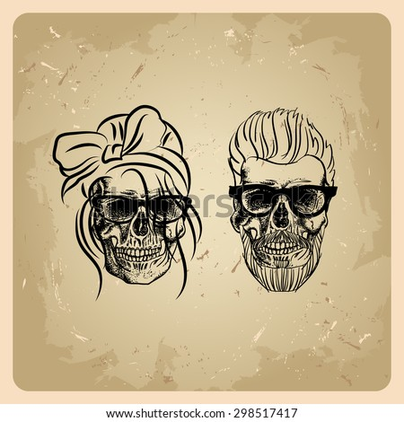 Skull girl  and man on the vintage background - stock vector