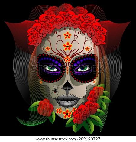 Skull Girl Dia de los Muertos - stock vector