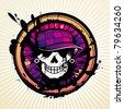 Skull grunge design for t-shirt - stock vector