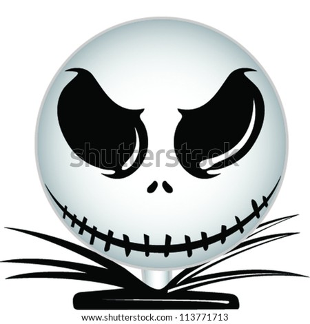 Skull head Halloween icon - stock vector