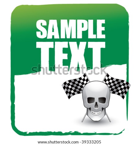 skull head with crossed checkered flags on green banner template - stock vector