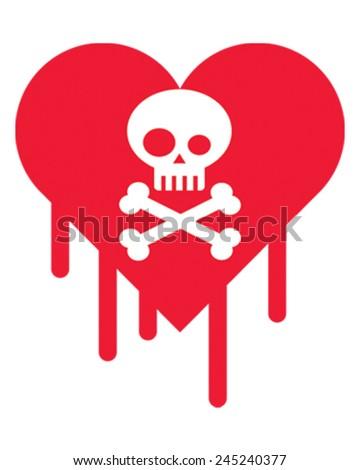 Skull Heart - stock vector