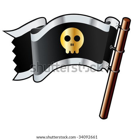 Skull icon on black, silver, and gold vector flag good for use on websites, in print, or on promotional materials - stock vector