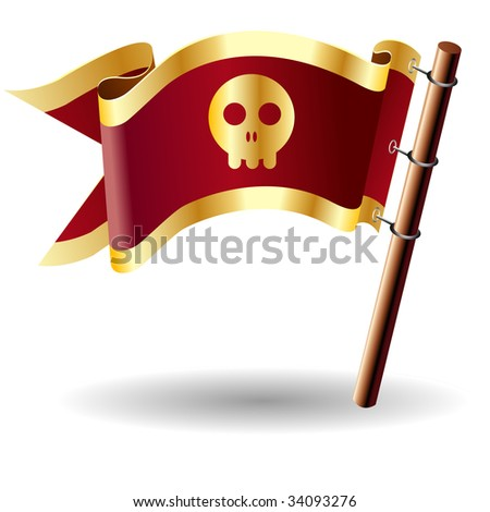 Skull icon on red and gold vector flag good for use on websites, in print, or on promotional materials - stock vector