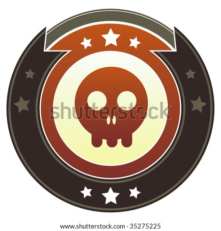 Skull icon on round red and brown imperial vector button with star accents suitable for use on website, in print and promotional materials, and for advertising. - stock vector