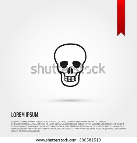 Skull Icon. Skull symbol. Danger concept. Flat design style. Template for design. - stock vector