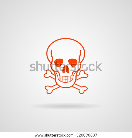 Skull icon, vector illustration. Flat design style - stock vector