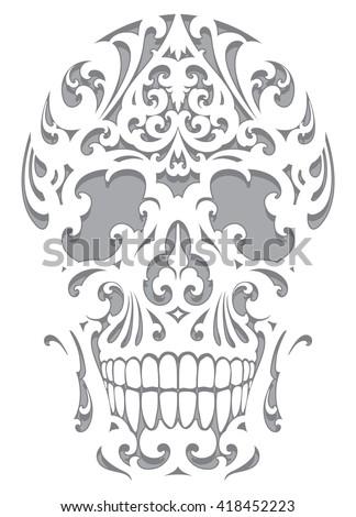 Skull illustration in art nouveau style - stock vector