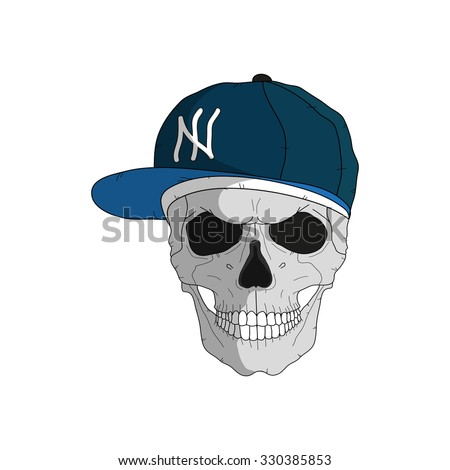 Skull in a rapper style - stock vector
