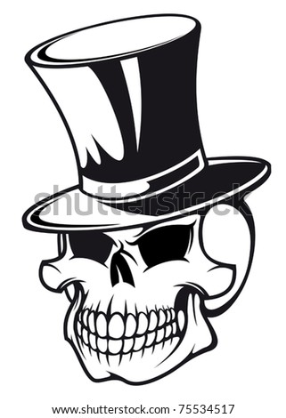Skull in black hat for tattoo design, such a logo. Jpeg version also available in gallery - stock vector