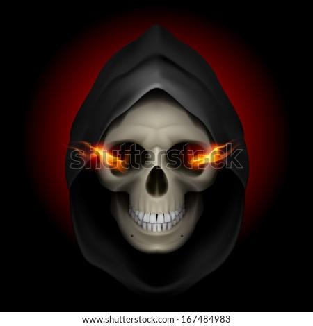 Skull in black hood with fiery eyes as image of death. Grim Reaper. - stock vector