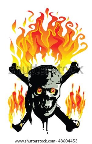 Skull in flames - stock vector