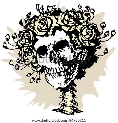 Skull in roses crown, vector illustration - stock vector