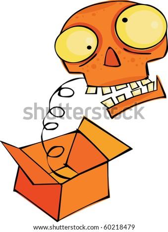 Skull in the box - stock vector