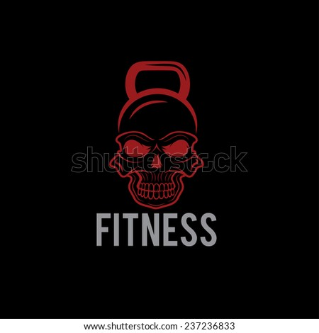 skull in the form of kettlebell fitness concept - stock vector