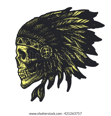 skull indian chief hand drawn vector illustration - stock vector