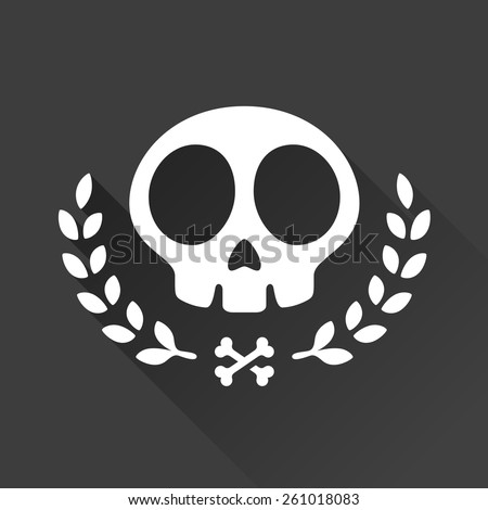 Skull logo illustration with laurel vine accents and crossbones - stock vector