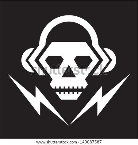 Skull Music - Vector Logo Sign Template. - stock vector