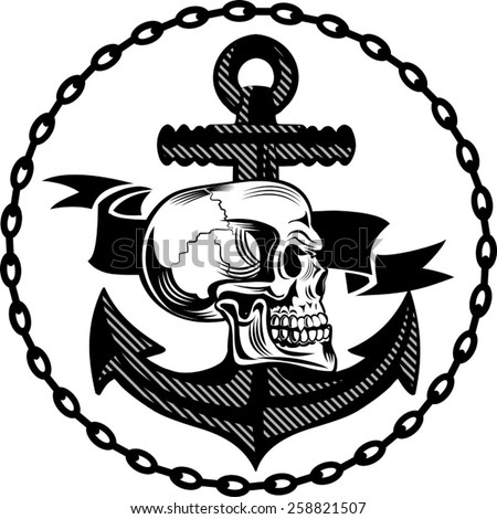 skull of an anchor - stock vector