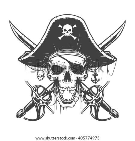 Skull pirate illustration - stock vector