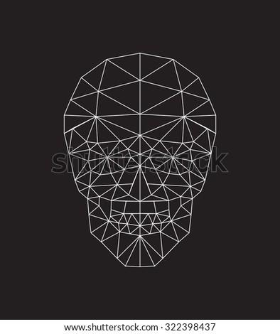 Skull polygonal - stock vector