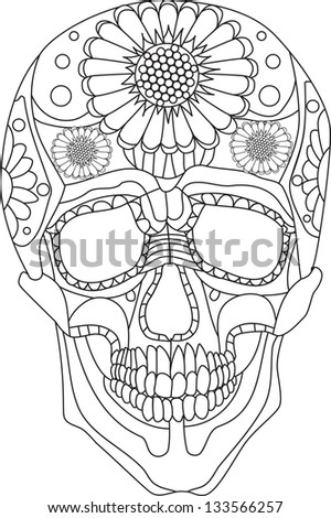 skull / Printing on T-shirt - stock vector