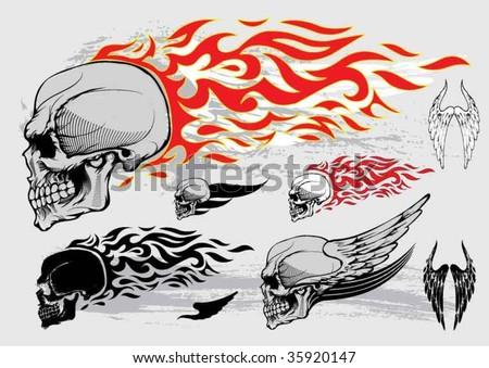Skull profile design elements - stock vector
