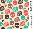 skull rose seamless pattern - stock vector